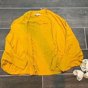 Loft mustard yellow bat wing open cardigan